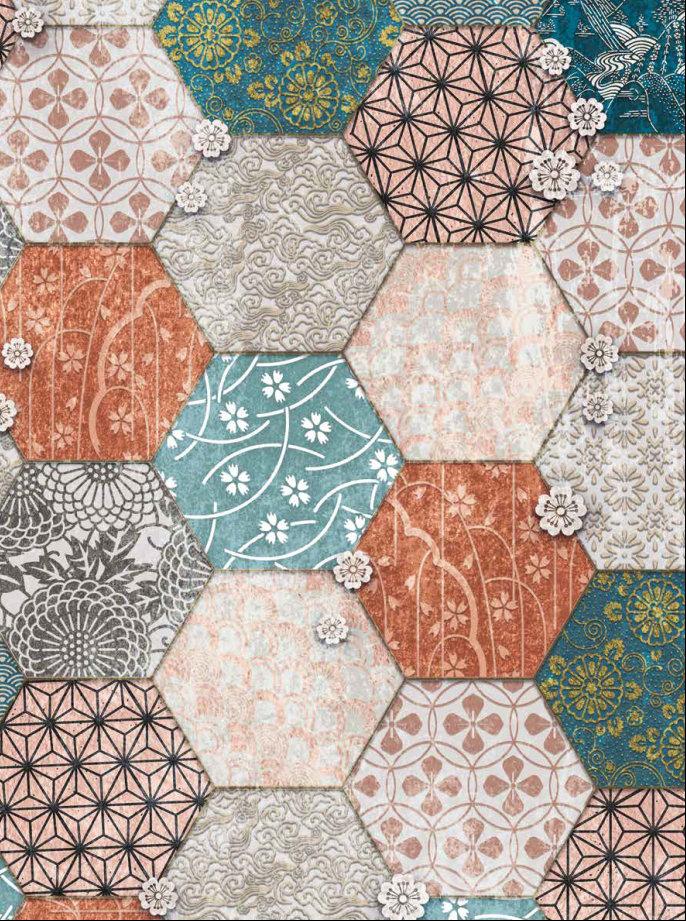 fashion wall 50 100cm hexago